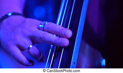 Contra bass player closeup - Closeup hand of musician...