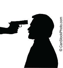 contra, cabeça, homem, arma, silueta