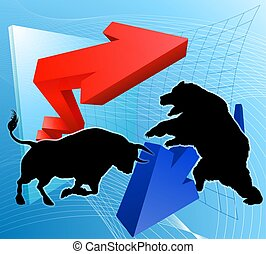 contra, conceito, ursos, touros, mercado, estoque