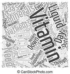 contra, concepto, palabra, vitaminas, líquido, chewable, nube