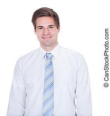 contra, confiante, fundo, homem negócios, sorrindo, branca