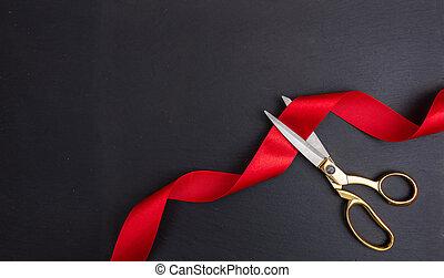contra, corte, pretas, fita, fundo, tesouras, seda, vermelho