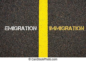 contra, emigração, conceito, imigração, antônimo