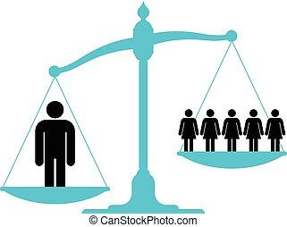contra, escala, grupo, único, pesando, homem, mulheres