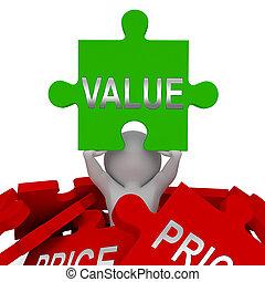 contra, financiero, contra, precio, rompecabezas, -, valor, ...