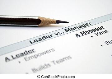 contra, gerente, líder