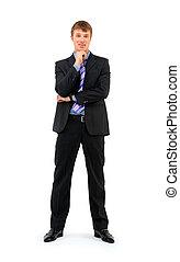 contra, homem negócios, jovem, comprimento, isolado, fundo, cheio, sorridente pé, branca