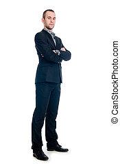 contra, homem negócios, jovem, comprimento, retrato, cheio