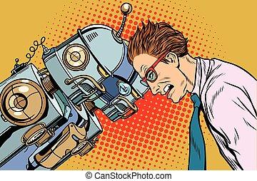 contra, humano, robotes, humanidad, tecnología, muchos