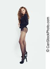 contra, modelo, branca, tights, fundo, pretas, ajustar, posição mulher, moda, parede