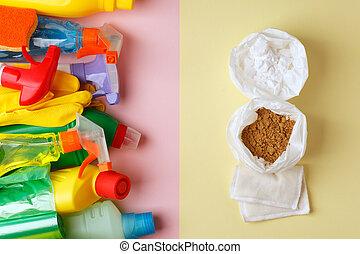 contra, natural, conceito, doméstico, químico, produtos, zero, produtos, eco-amigável, fundo, trendy, desperdício, mínimo, limpeza