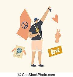 contra, paz, amor, símbolo, mundo, protesta, protestar, ...