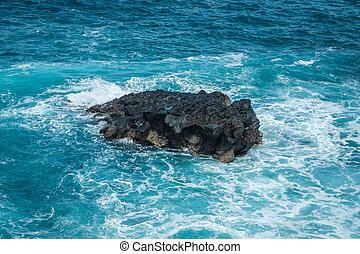 contra, pedras, pretas, ondas, oceânicos, bata