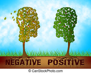 contra, positivo, -, mente, negativo, ilustração, estado, palavras, refletivo, descrevendo, 3d