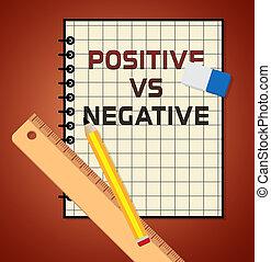 contra, positivo, -, mente, negativo, ilustração, estado, relatório, refletivo, descrevendo, 3d
