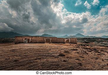 contra, ruinas, nublado, karpaz, paisaje, norteño, cielo,...