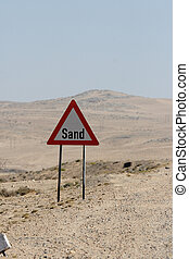 contra, señal, arena, advertencia, namibia, camino