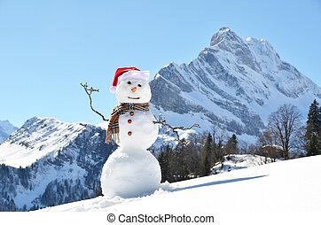 contra, snowman, panorama, alpino