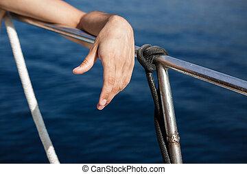 contra, trilhos, iate, fundo, mar, mão