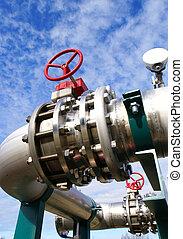 contra, tuberías, cielo azul, industrial, acero, zona, ...