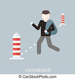 Contraband concept - Concept in flat design. Man carries...