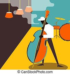 Contrabass musician. Jazz music performance
