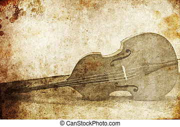 Contrabass. Photo in old image style