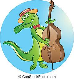 vector illustration of crocodile mascot playing contrabass