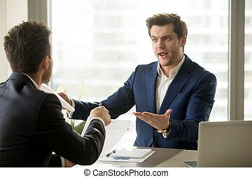contrac, affaire, échec, discuter, rupture, lieu travail, hommes affaires