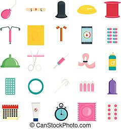 Contraception Day control icons set, flat style