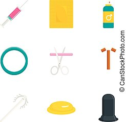 Contraception day icon set, flat style