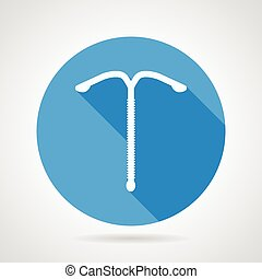 Flat blue round vector icon with white silhouette intrauterine spiral on gray background. Long shadow design