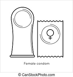 Contraception method - female condom. Woman contraceptive icons set. Safe sex. Disease prevention and birth control. Planning pregnancy. Flat vector illustration isolated on white background