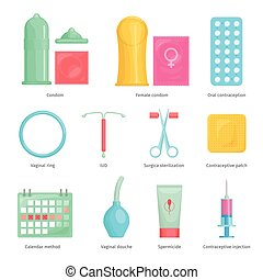 Contraception methods cartoon icons set with calendar...