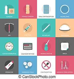 Contraception Methods Icons Set - Contraception methods...