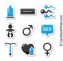 Contraception methods, sex icons - Protection against...