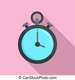 Contraceptive stopwatch icon, flat style - Contraceptive...