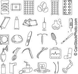 contraceptives., prevention., icons., vektor, wiederbelebung...