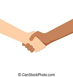 contract., 人々, 印, 協力, 別, 黒, 結論, hands., ∥間に∥, 友情, 2, 白, nationalities., respect., 動揺