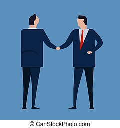 Contract agreement. Business people standing handshake wearing suite formal. Concept business vector