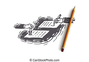 Contract, agreement, notary concept. Hand drawn sketch isolated illustration