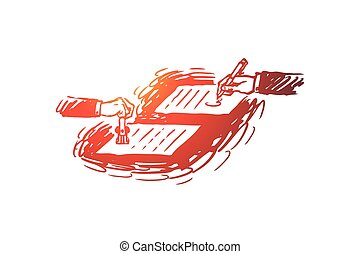 Contract, agreement, notary concept. Two hands sign the contract on a table. Hand drawn sketch isolated illustration
