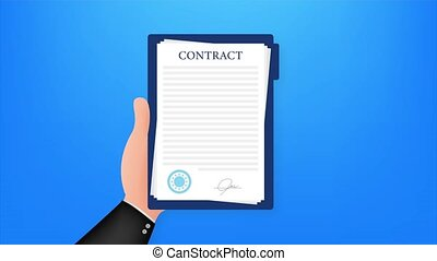 Contract agreement paper blank with seal. illustration