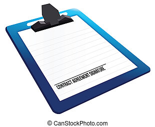 contract agreement signature on a clipboard