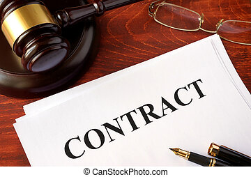 Contract and a gavel.
