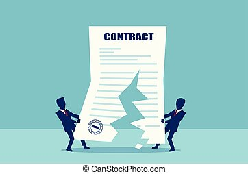 Vector of two business men tearing in half contract agreement.