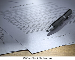 Close up of a pen over a contract to be signed.