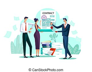 Contract conclusion concept vector illustration