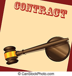 The form of contract with the judicial hammer. Vector illustration.