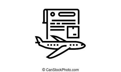 contract for airplane transportation animated black icon. contract for airplane transportation sign. isolated on white background